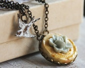 Flying To My Garden - Double Strand Charm Necklace with Slate Blue Rose on yellow clay pendant and patina bird - New Necklace