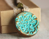 Tamar Necklace- round turquoise and gold pendnant
