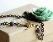 Flying To My Rose -Mint Rose Necklace with antique brass Sparrow