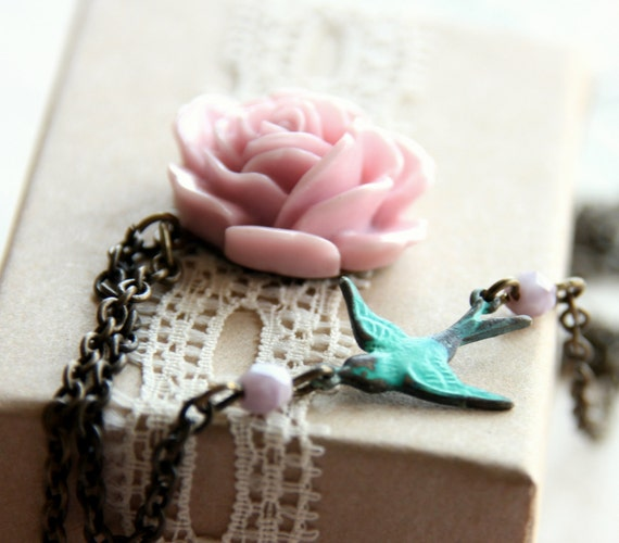 Flying To My Rose -Pink Rose Necklace with Patina Sparrow