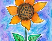 Orange Sunflower Watercolor Painting