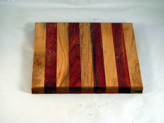 """Handmade in Cleveland Ohio chopping block / cutting board / trivit  Butcher block 8"""" x 8"""" made with maple and  paduck"""