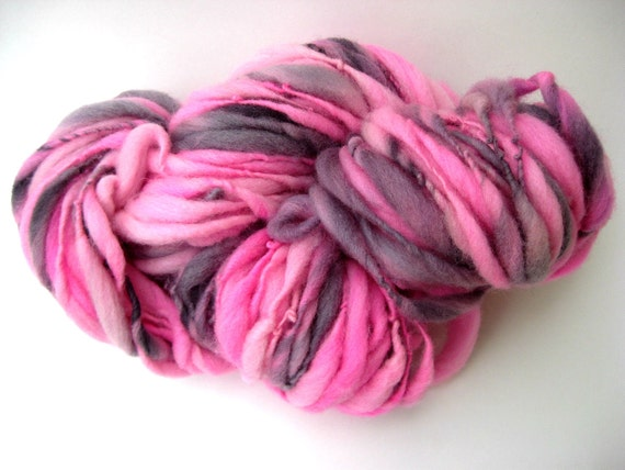 Handspun Yarn - Art Yarn - Thick and Thin - Bulky Single - Hand Dyed - Merino Wool  - Flamingo - 66 Yards