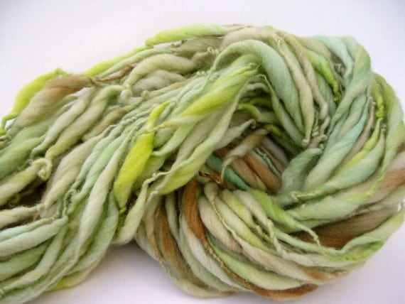 Handspun Yarn - Art Yarn - Thick and Thin - Bulky Single - Hand Dyed - Merino Wool  - Pistachio - 56 Yards