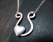 Chic Horseshoe Heart Silver Necklace