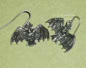 Hanging Bat Earrings, Simple & Sweet, Alternative/Goth Jewelry, French Hook  Wires, hand assembled Halloween earrings, Halloween jewelry
