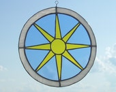 Made to Order: Medieval Stained Glass Sun, large round suncatcher, blue white and yellow, Summer Sun, Renaissance
