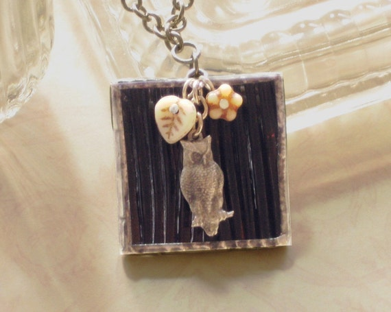 """Owl Stained Glass Pendant Necklace, 23.5"""" brown glass w off-white flower & leaf, silver-tone chain, nature themed handmade necklace"""