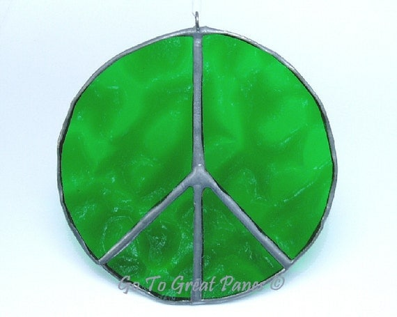 Green Peace Sign, Stained Glass Suncatcher, Handmade