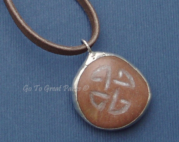 Earthy Celtic Knot Stone Necklace, Engraved Irish Knot on a reddish oval stone, Pendant Necklace Gift for Your Man