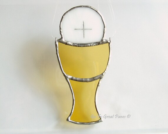 First Holy Communion Gift--Chalice w/ Host Stained Glass SunCatcher, Handmade Religious Gift, White and gold, GoTo