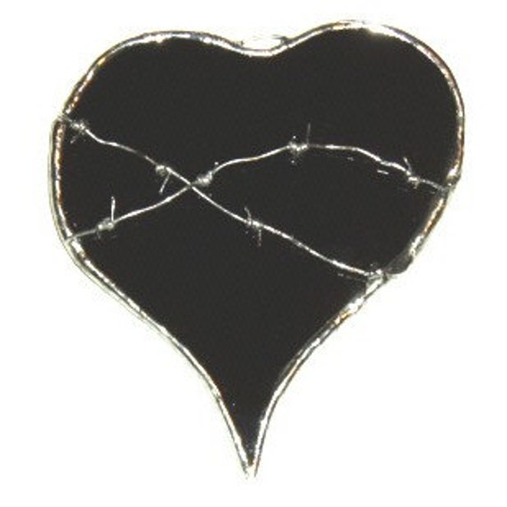 Black Heart with Barbed Wire--black stained glass heart suncatcher (actually, sun-blocker)