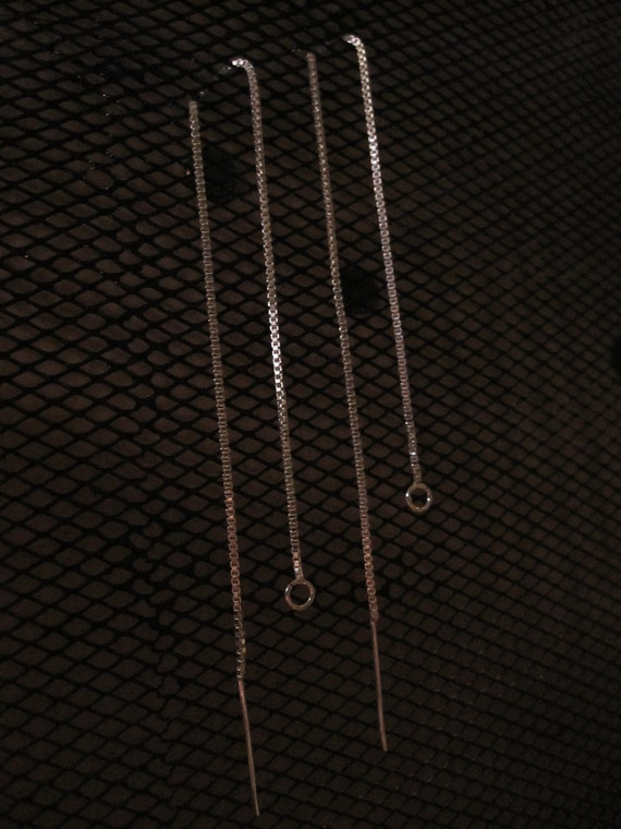 """6 """" Sterling Silver Ear Threads with Loop"""