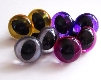 Suncatcher Eyes - 12mm Cat Eyes in Silver, Gold, Purple, and Hot Pink