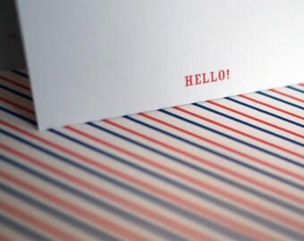 Stripey Hello Card Set 3
