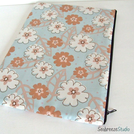 Clearlance sale13 inch Laptop sleeve - pale blue floral print  (fits MacBook)