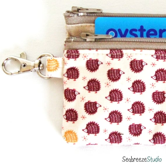 SALE Travel pass case - Forest friend hedgehog in white