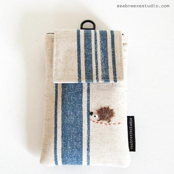SALE iPhone/Blackberry/smart phone case - blue stripe with hedgehog appliqué