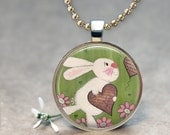 Love Bunny Rabbit Kids Silver Art Pendant Necklace from Original Artwork by TwoLittleWitches