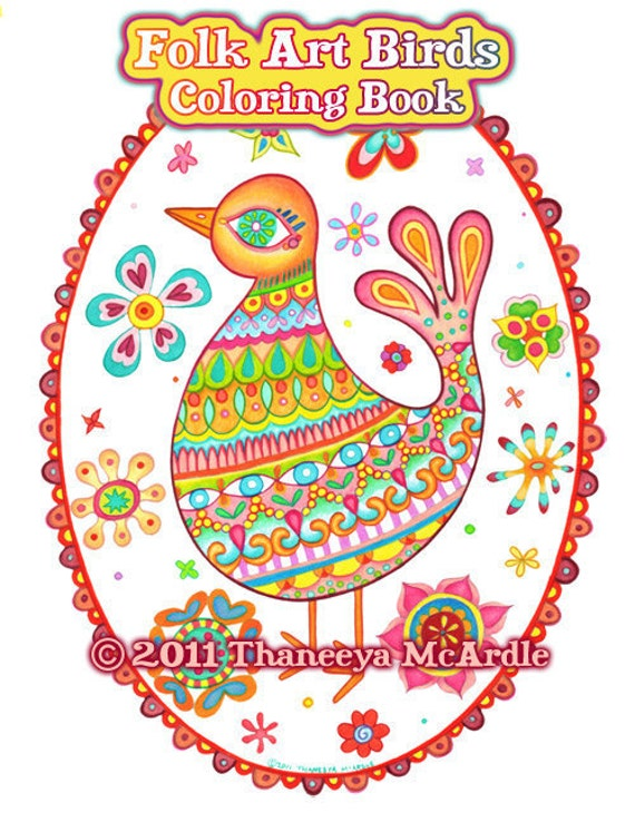 Folk Art Birds Coloring Pages - 20 Printable PDF Blank Bird Designs to Print and Color