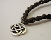 Unisex Celtic Twisted Leather Necklace - leather, pewter