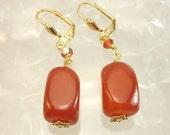 Carnelian earrings with gold  BHV