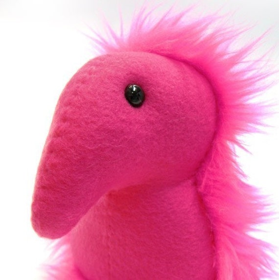 Mitchell (who has an impressive nose) -- Hot Pink Plush Monster