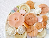 Vintage Button Lot in Peaches and Cream with Mother of Pearl MOP Buttons