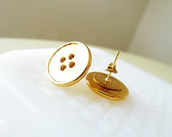 Gold Metal Vintage Sewing Button Stud Earrings with Surgical Steel Posts