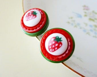 Strawberry Earrings, Big Chunky Studs, Red and Green Earrings, Whimsical Fruit Stud Earrings Made with Vintage Buttons, KreatedByKelly SALE