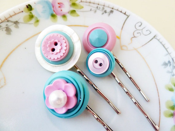 Vintage Button Hair Pin Set, Pink Aqua and Pearls