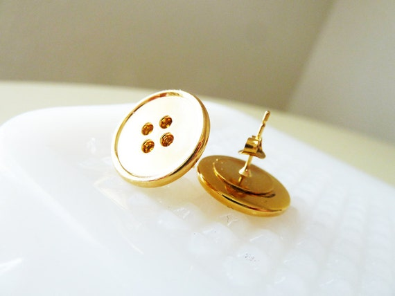 Gold Button Earrings, Vintage Sewing Button Earrings, Gold Stud Earrings, Metal Post Earrings, Button Jewelry Gift for Friend KreatedByKelly