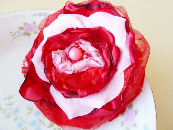 Satin Flower Pin Statement, Beaded Candy Pink Red Petals, in Valentine's Day Colors