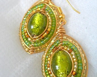 Lime and Gold Shield Earrings
