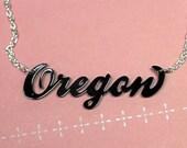 Oregon Script Typography Necklace - Black
