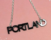 Portland Typography Necklace - Black
