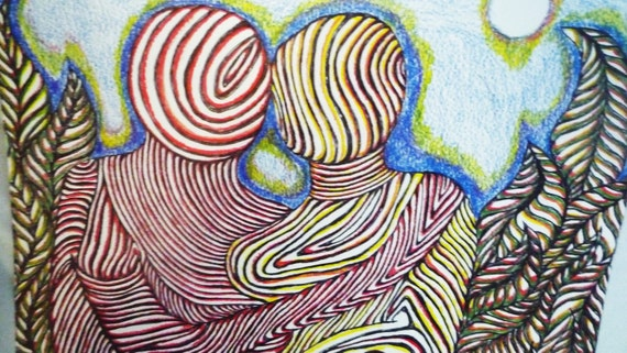 Original Love Eternal II  Surrealist Colored Pencil And Ink Drawing