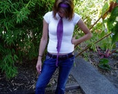 Plum Cotton Belt Headband Skinny Scarf