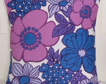 Vintage Fabric Cushion Cover -Sixties 60s Flower Power