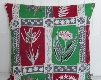 Vintage Pillow Cover  Cushion - 50s Mid Century Botanical