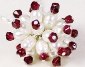 Super Nova Starburst - pearl and garnet necklace