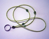 Electric Green Beaded Lanyard or I.D. Badge Holder