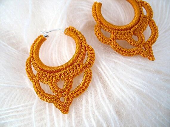Gold Crocheted Hoop Earrings