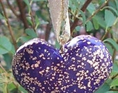 SALE  Sacred Space  Folk Art  Deep PURPLE heart pendant flecked with Gold FREE SHIPPING