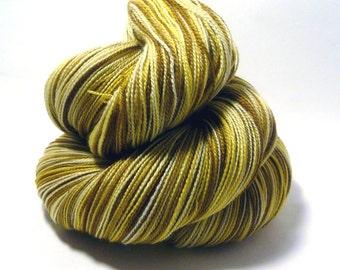 Handdyed Merino/Silk Laceweight Yarn - Hot Buttered Rum - brown, rum, yellow - Enamored