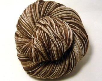 Handdyed merino/silk/stellina laceweight - Chocolate Cream - brown, tan, cream
