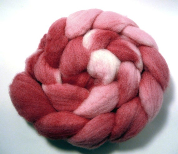 Handdyed Polwarth Wool Roving - Variation on a Red - red, pink, white