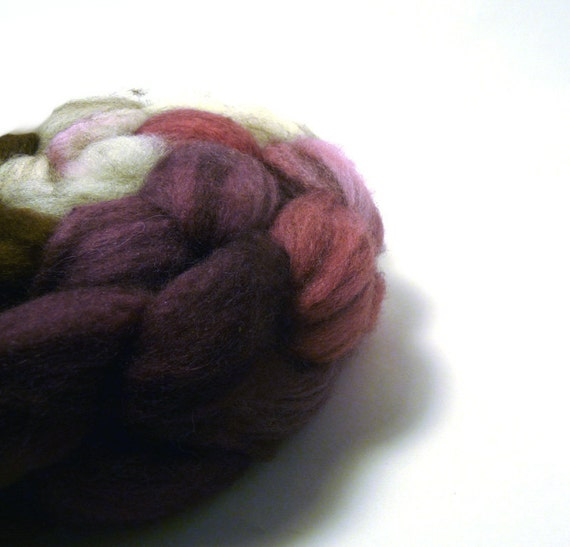 Handdyed Mixed BFL Wool Roving - Shakespeare's Ghosts - natural, brown, purple, fuschia
