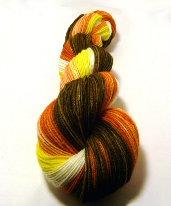 Handdyed SW Merino Wool/Nylon Gradient Yarn - Bonfire - brown, yellow, orange, white - Charm Sock