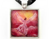 Angel in Rosy Sunset Clouds Art Handmade Jewelry Pendant